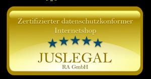 JusLegal Goldplakette_zertifizierter datenschutzkonformer Internetshop_300